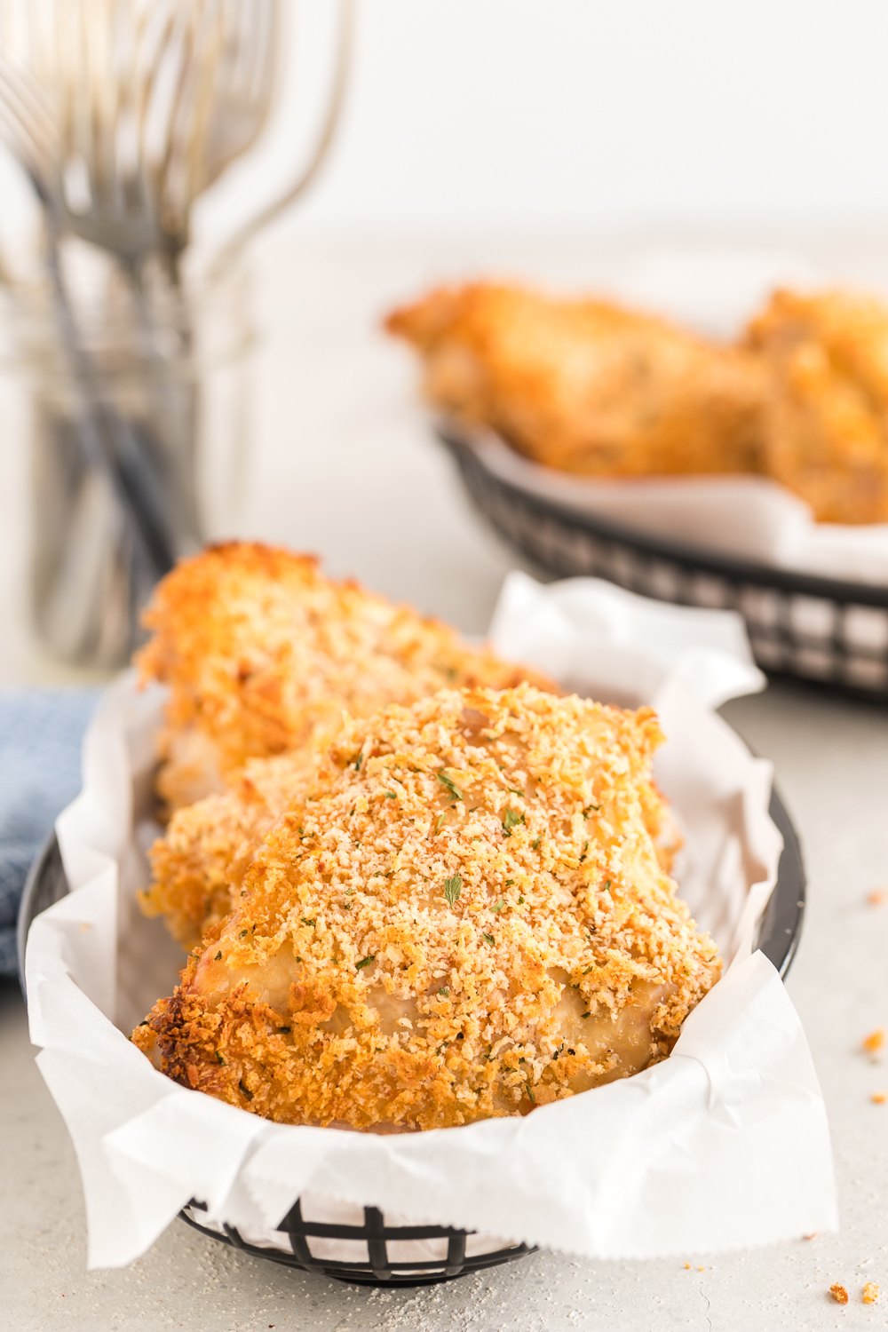 Panko Oven Fried Chicken: a delicious fried chicken recipe that is baked. It's crispy on the outside and juicy on the inside - just the way fried chicken should be!