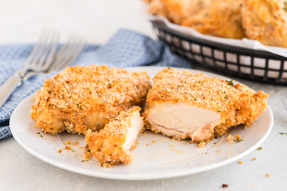 panko oven fried chicken cut into