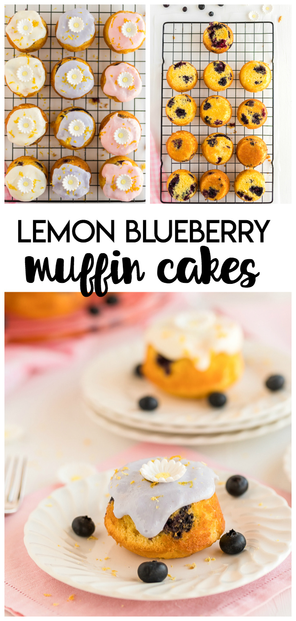 Mini Lemon Blueberry Muffin Cakes are delicious lemon blueberry muffins turned upside down to make sweet treats perfect for Mothers Day, bridal showers and more!