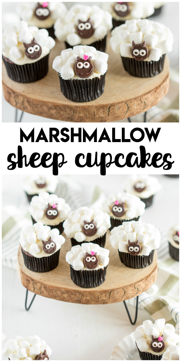 Marshmallow Sheep Cupcakes: a simple springtime food craft the kids will love to make and eat! Chocolate cupcakes, mini marshmallows and mini chocolate chips are the main ingredients for these Easter friendly sheep cupcakes.