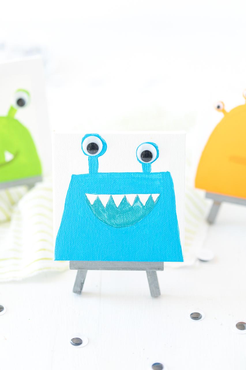 Blue Mini Monster Canvas