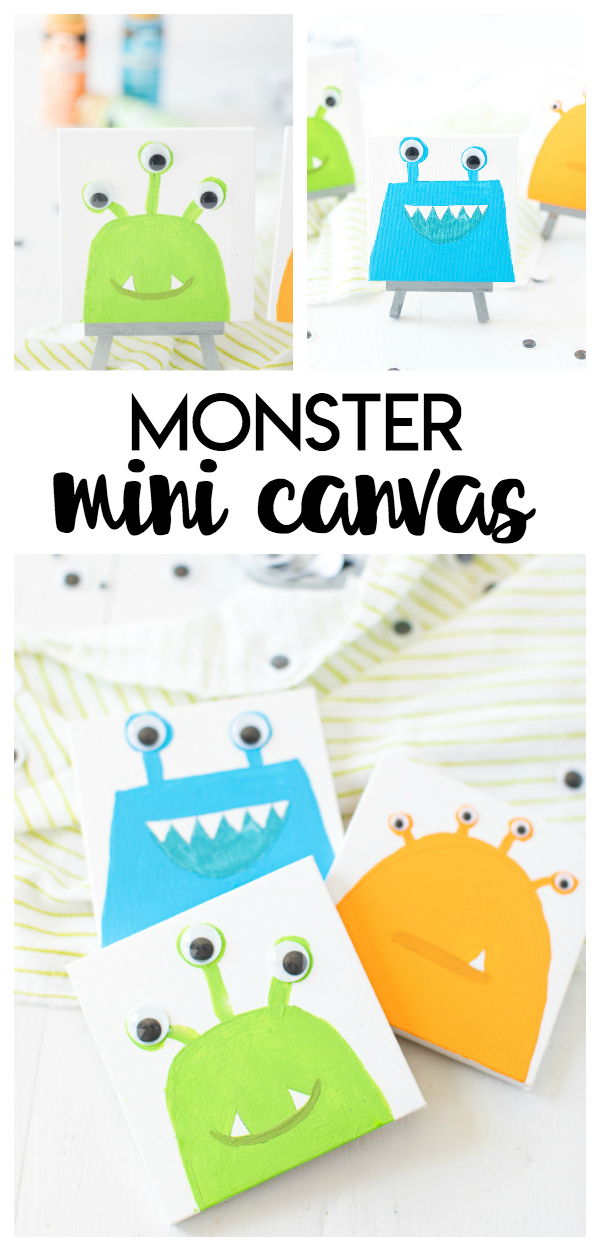 Monster Mini Canvas is the perfect monster craft for kids. It's a fun and simple DIY project they can have fun painting and showcasing in their room.