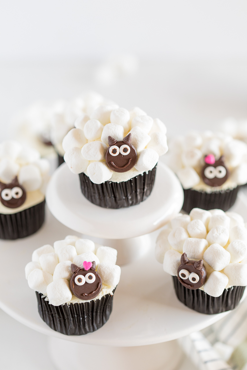 sheep cupcakes on cupcake stand