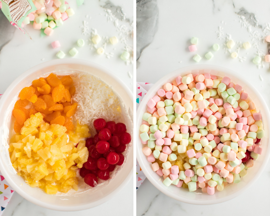 ambrosia salad marshmallows in bowl