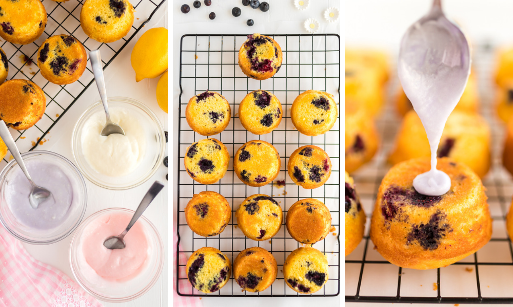 mini lemon blueberry muffin cups process