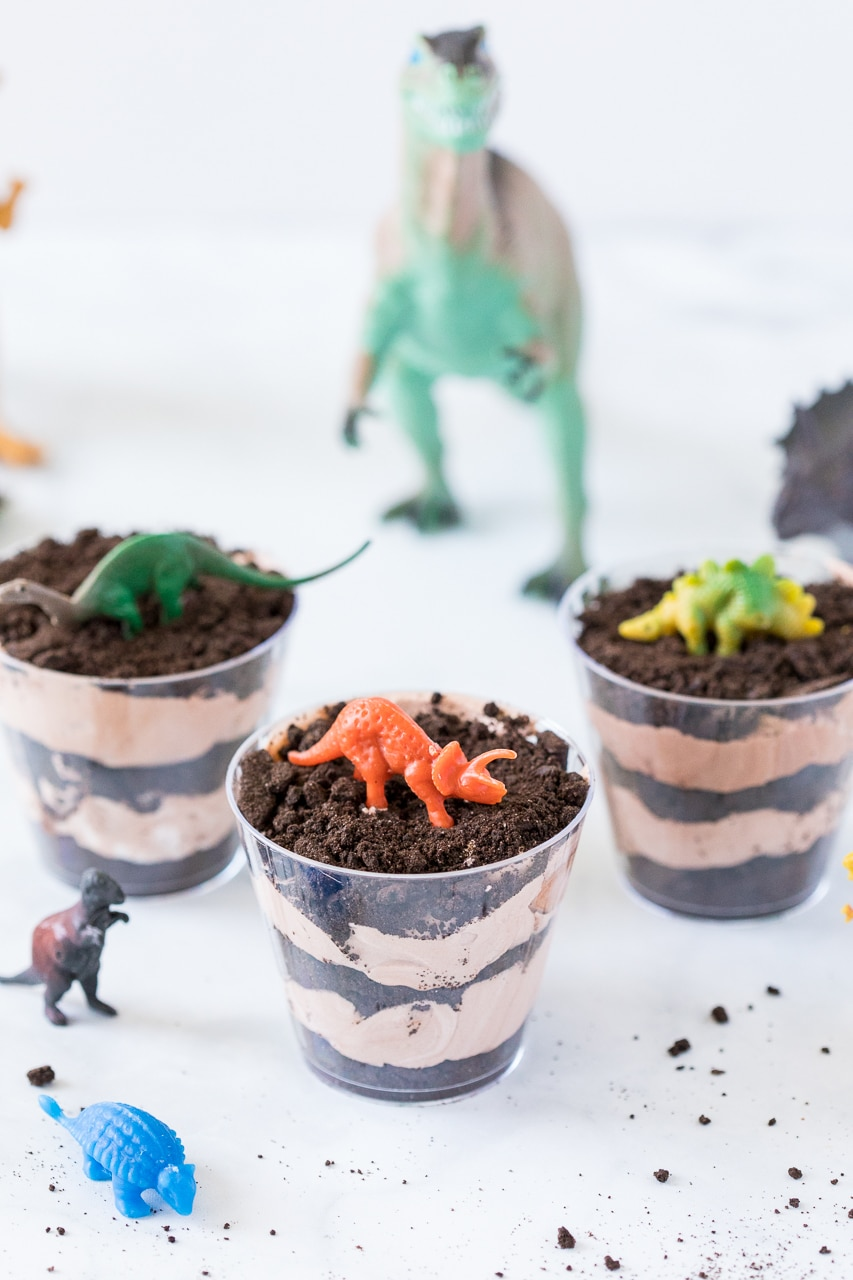Dirt cups with dinosaur toys