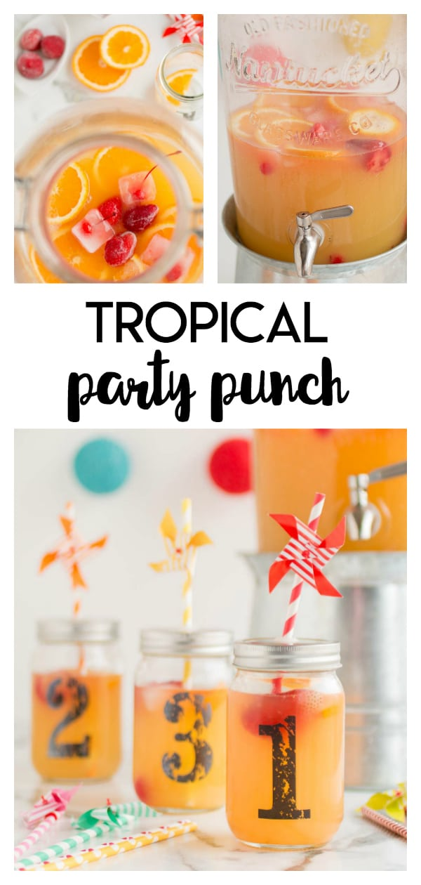 Tropical Party Punch: a simple party punch packed full of tropical flavors like pineapple, cherries and orange. Finished off with lemonade, it's a great party drink!