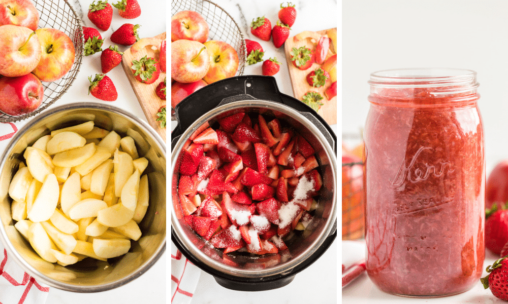 Process to make Instant Pot Strawberry Applesauce