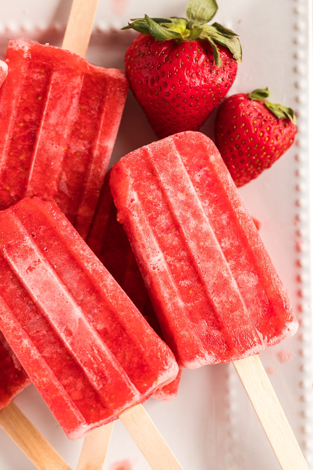 Single Serving of Strawberry Popsicles