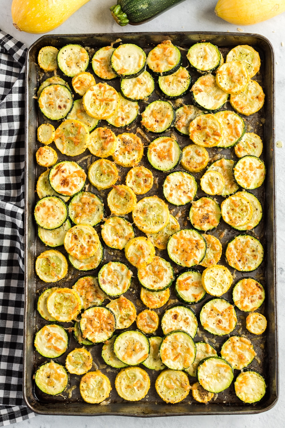 Zucchini and Squash Roasted on Baking Pan