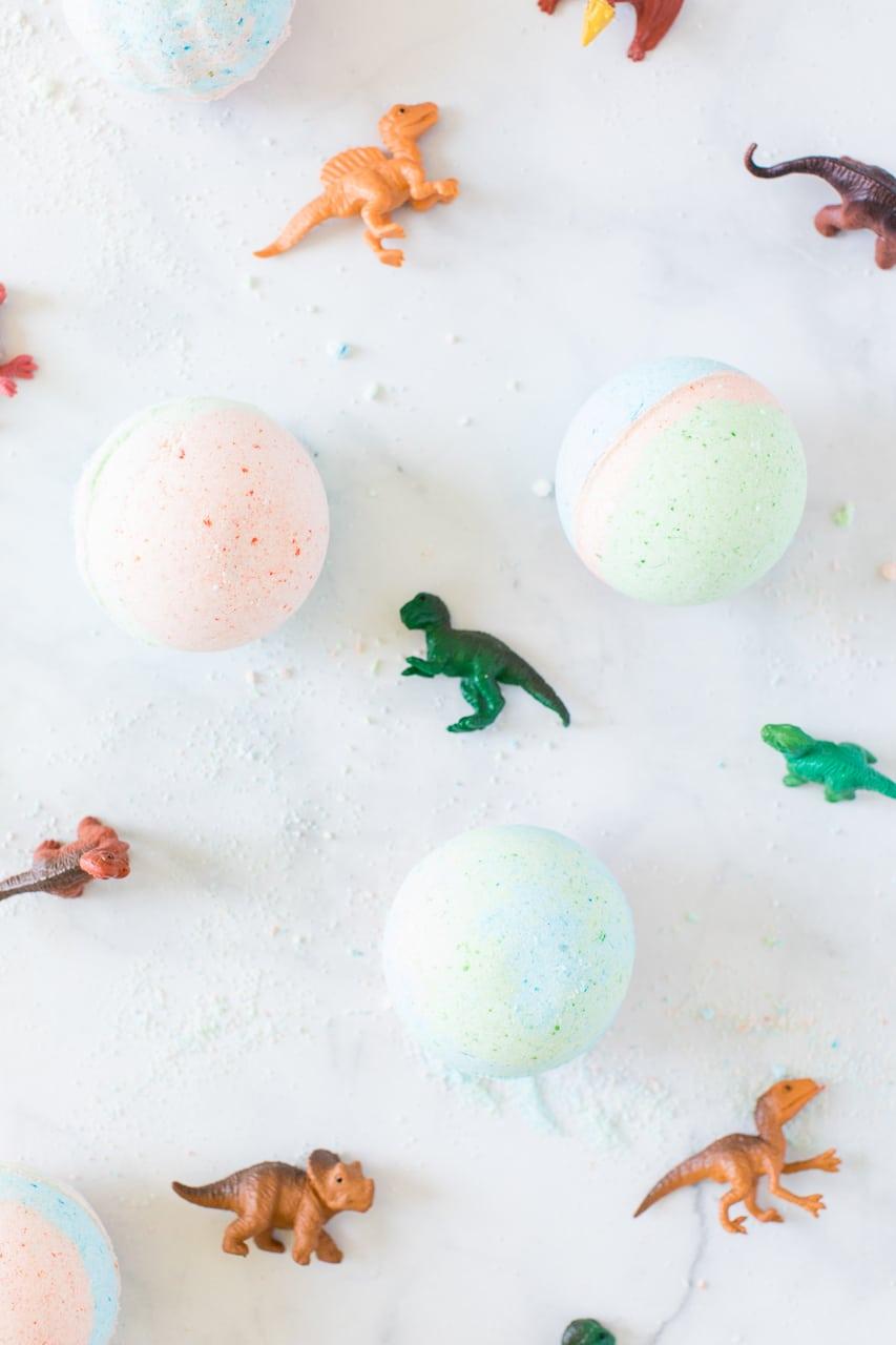 Bath Bombs with Dinosaurs