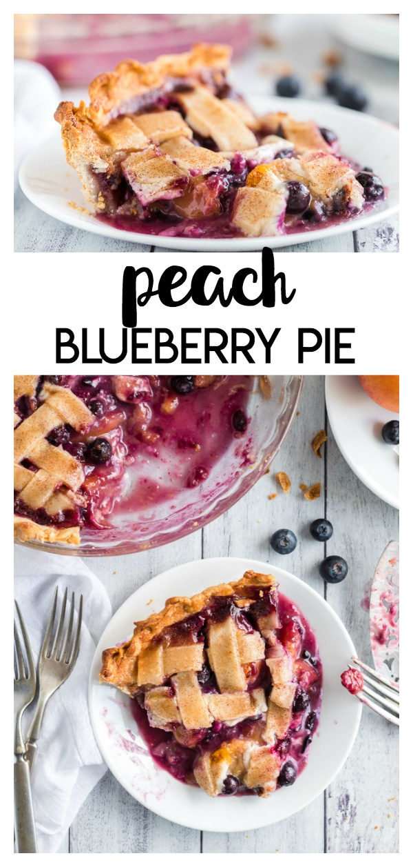 Peach Blueberry Pie a simple and delicious pie recipe bursting with fresh blueberries and sweet peaches!