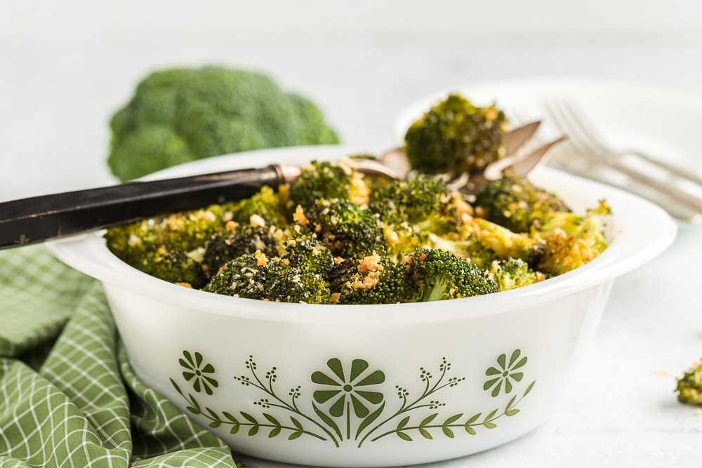 Parmesan Broccoli in Serving Bowl