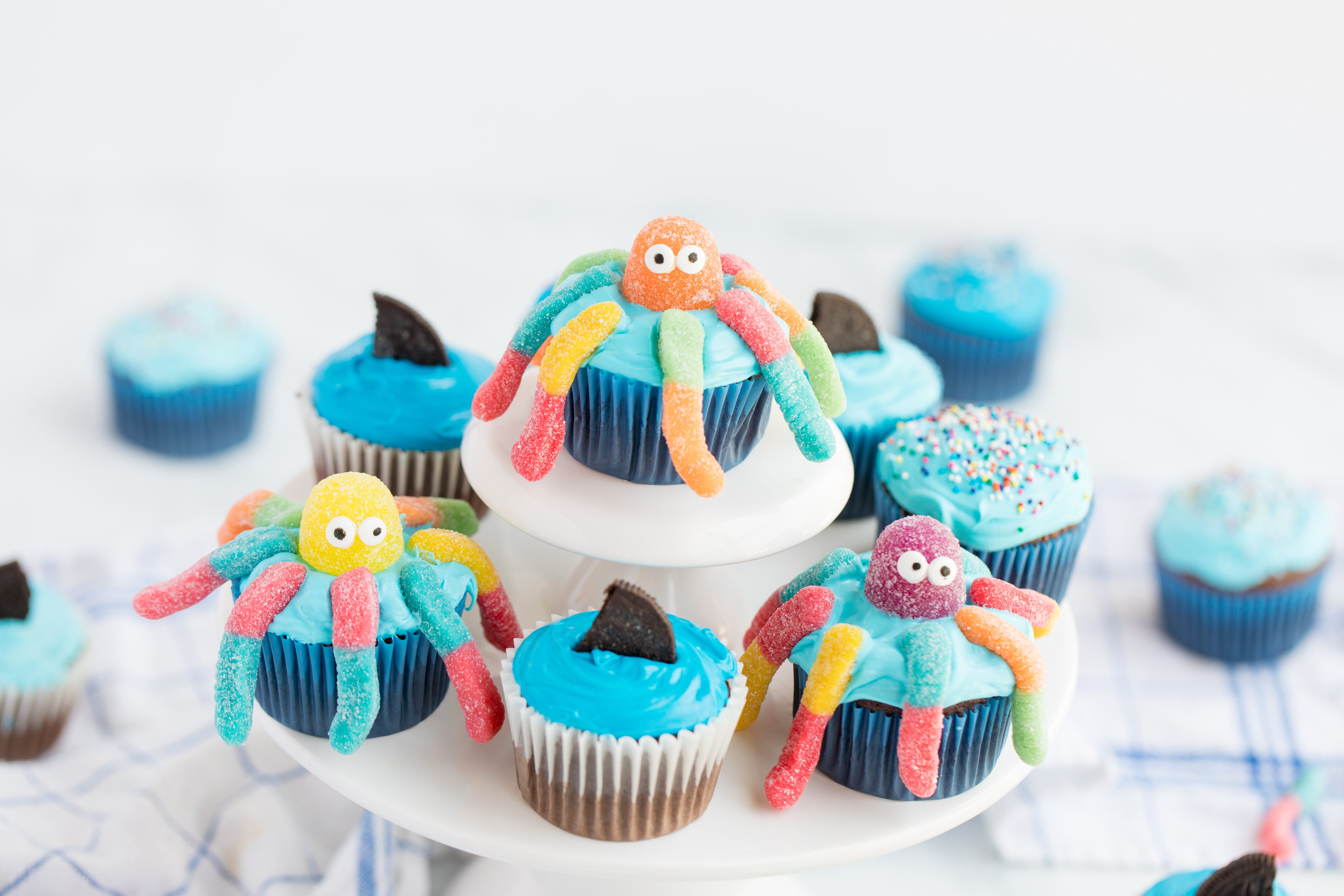 octopus cupcakes on stand