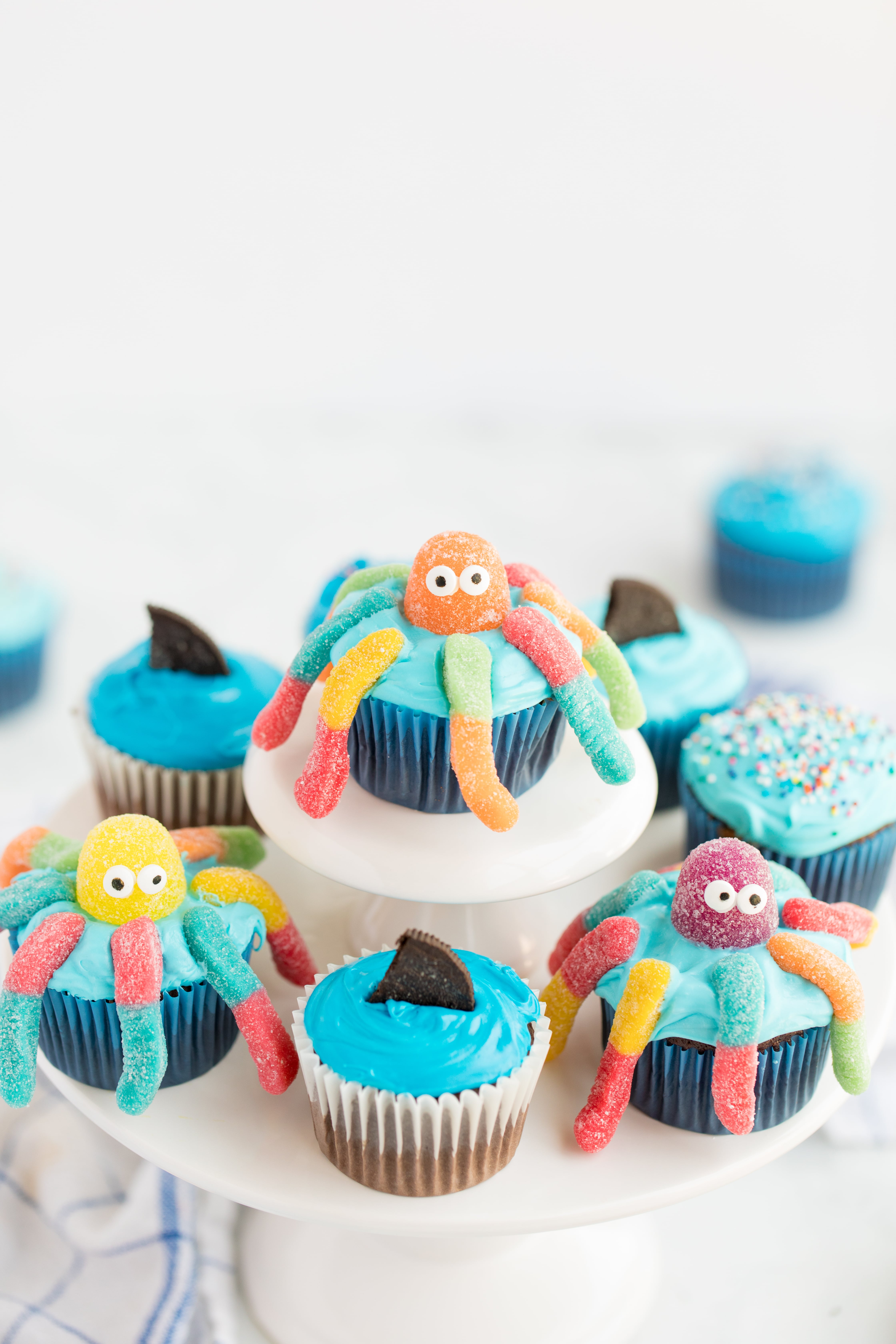 Octopus Cupcakes on Cupcake Stand
