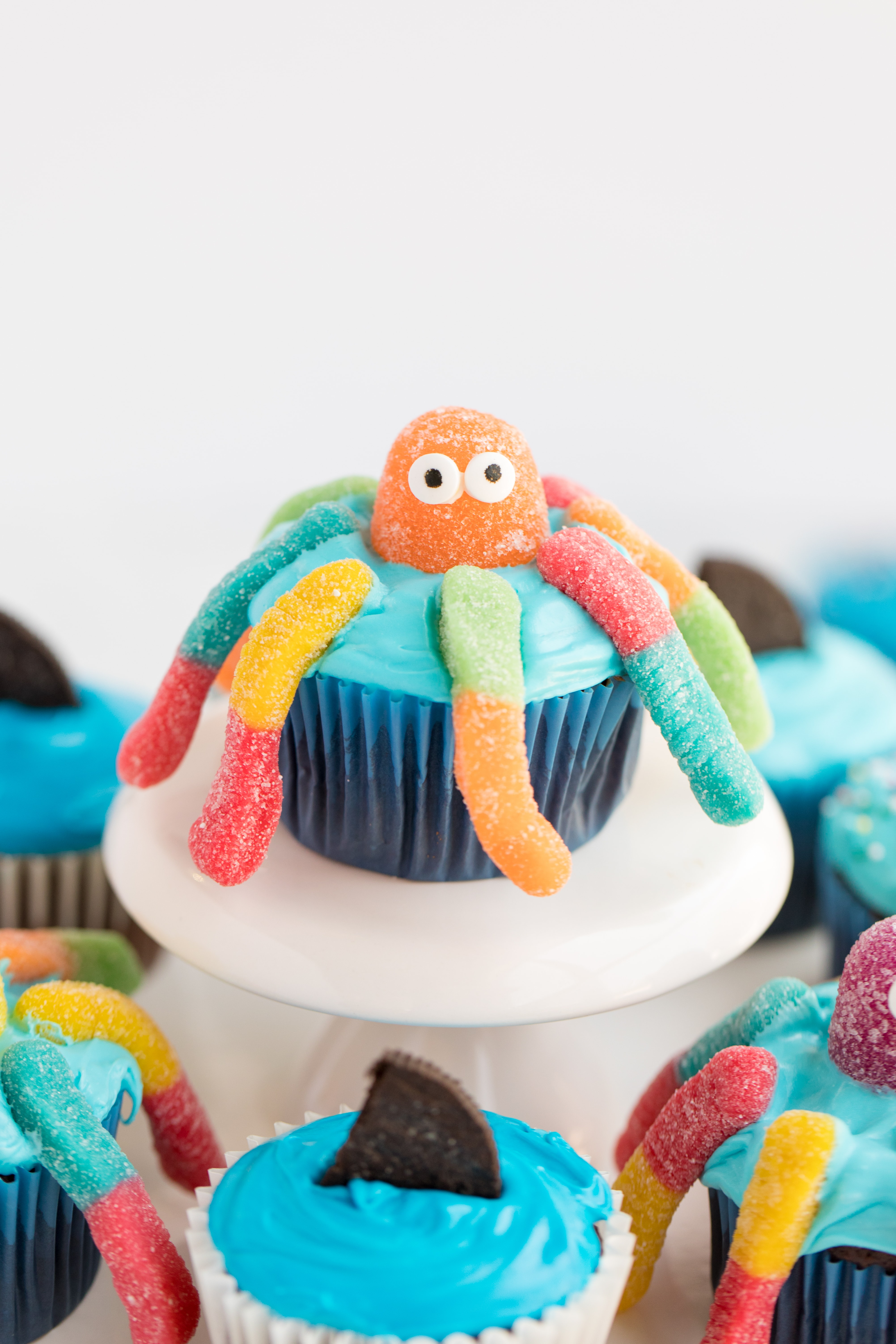 candy on octopus cupcakes