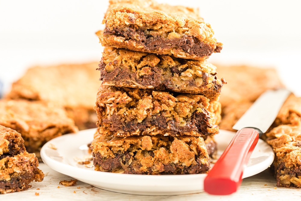 serving of chocolate chip oatmeal cookie bars
