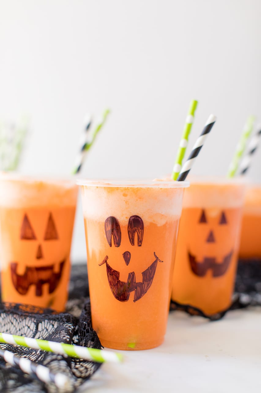 Halloween Punch with Jack O Lantern Cups