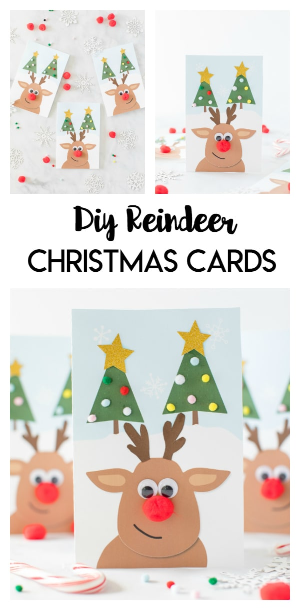 Reindeer DIY Christmas Cards: these festive and simple reindeer cards are a fun printable Christmas card activity for kids.  Add your own googly eyes, pom pom ornaments, and sparkly stars for a fun DIY card.