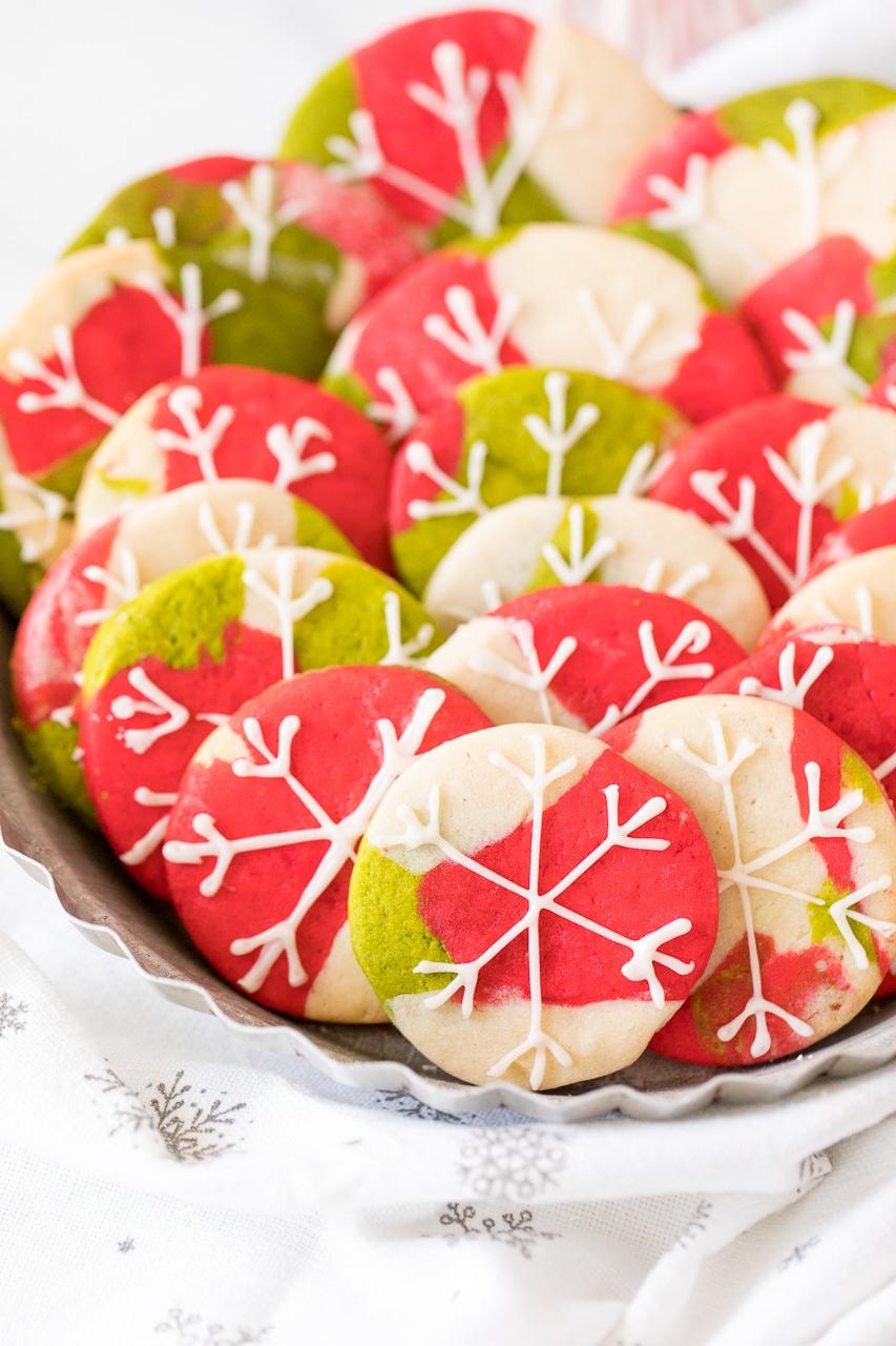 marbled snowflake cookies