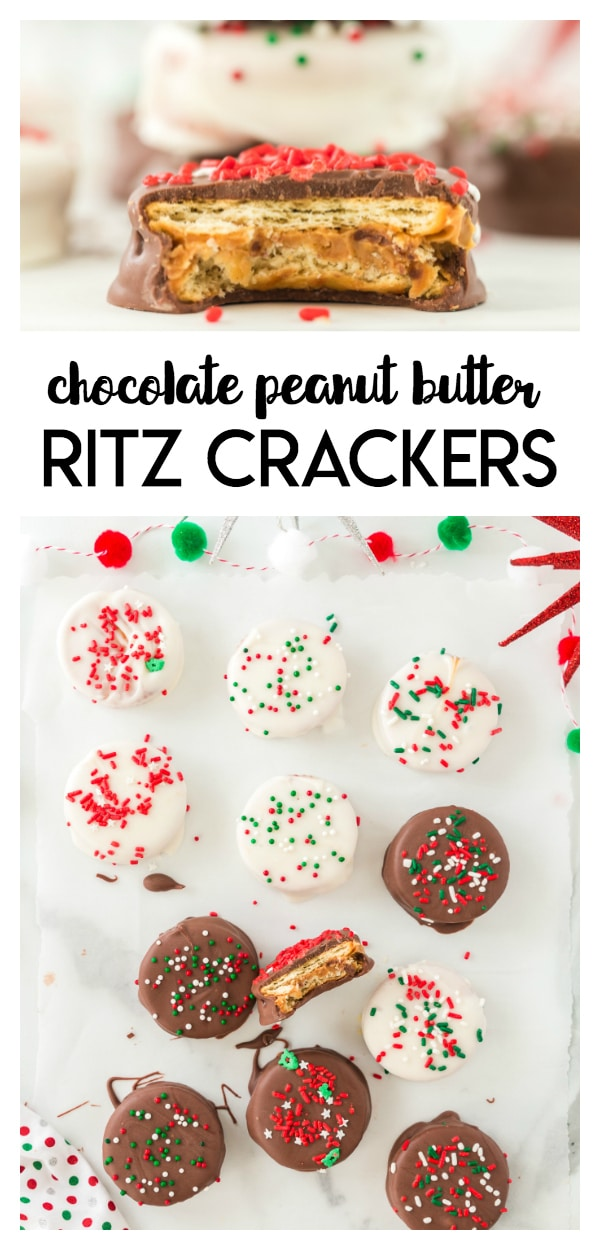 Chocolate Peanut Butter Ritz Crackers:  peanut butter sandwiched between two crackers, covered with chocolate and topped with sprinkles- a delicious holiday treat.