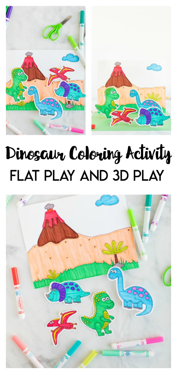 Dinosaur Coloring Activity- this 2-in-1 dinosaur coloring page is a fun kids activity! Kids can color and flat play or take it a step further and make this a 3D coloring play activity.