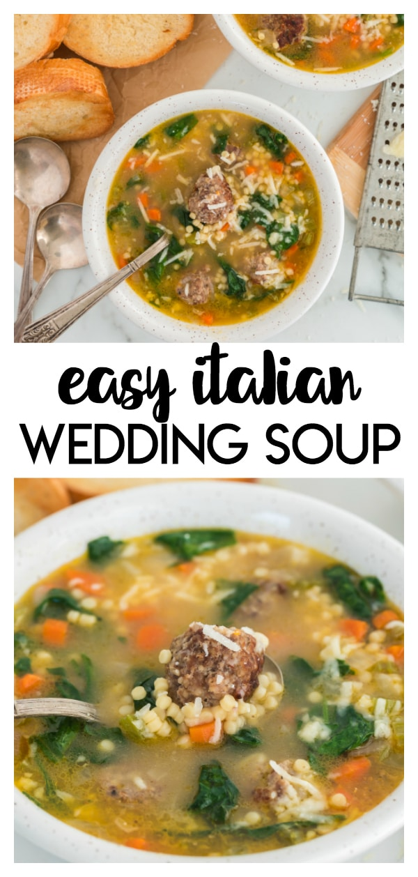 Easy Italian Wedding Soup: this recipe has tiny meatballs, veggies, and small pasta in a savory broth that is perfect for a weekday meal!