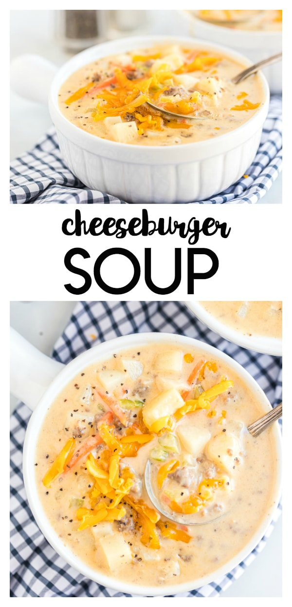 Cheeseburger Soup Recipe: a cheesy soup loaded with ground beef, potatoes, and veggies. This makes a great meal when paired with a tossed salad and bread.