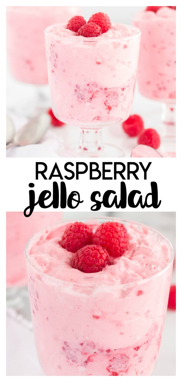 Raspberry Jello Salad- this light and fluffy raspberry treat is a jello salad bursting with flavor! You only need 4 simple ingredients to prepare this for summer bbq's, weeknight dinners or potlucks!