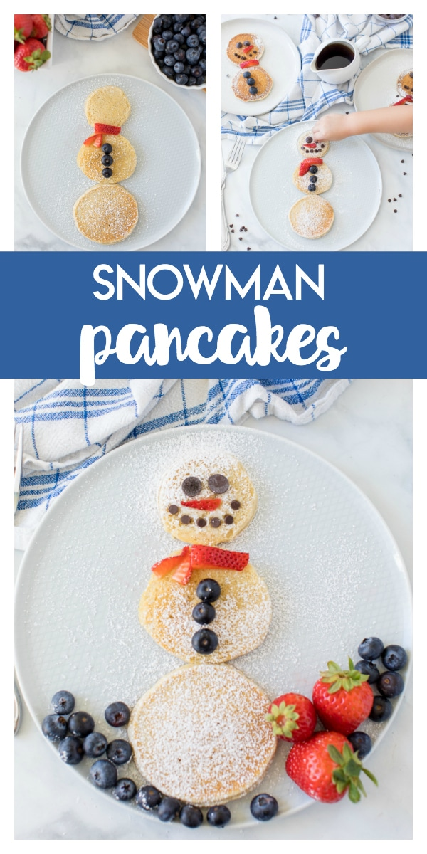 Snowman Pancakes: a delicious wintery breakfast the kids will love to make and eat! Fun to serve on a kids snow day or a regular weekend morning!