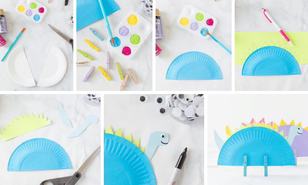 painting and glueing dino plate pieces together