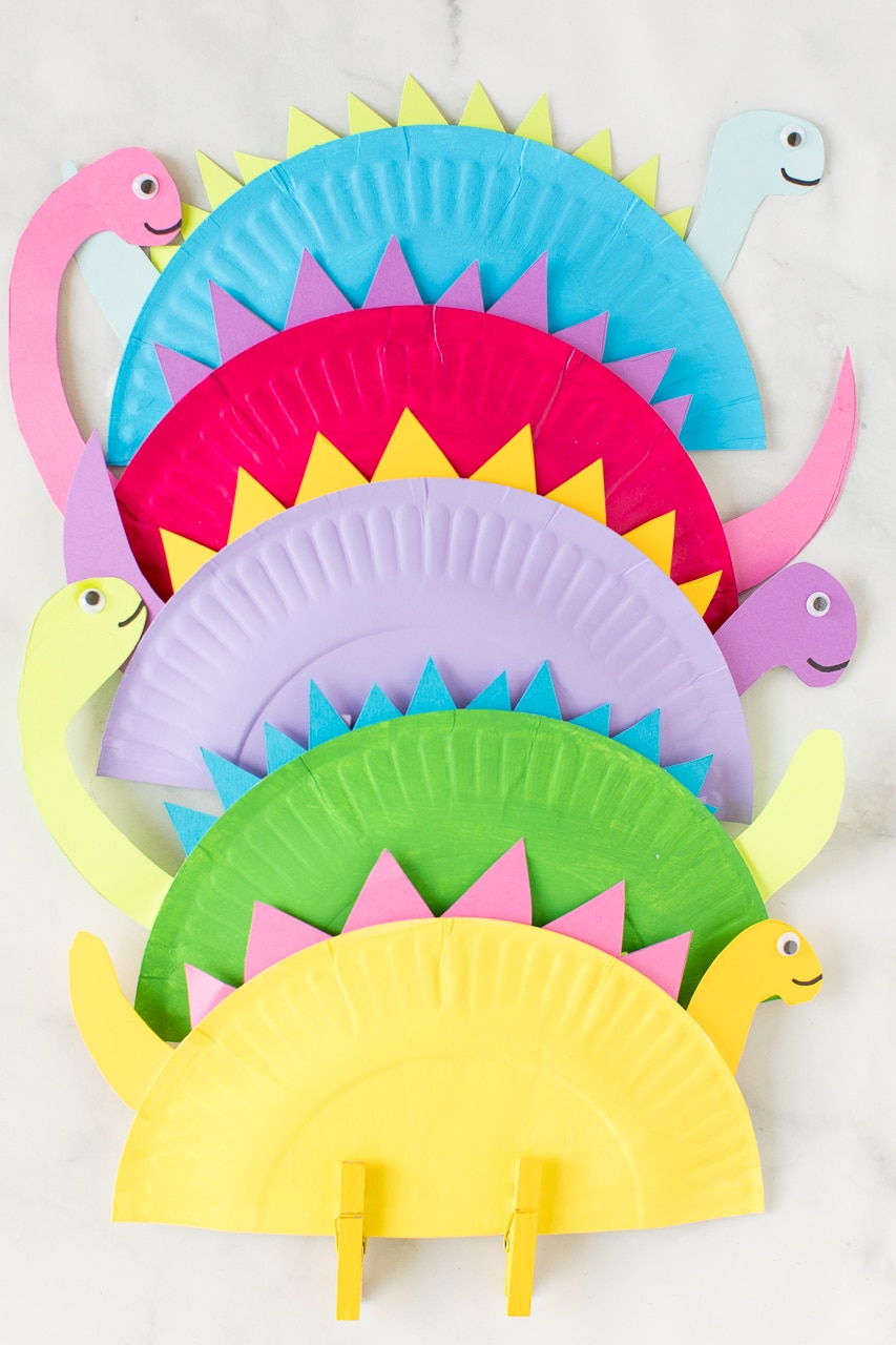 Paper Plate Dinosaurs Stacked on Top of Each Other