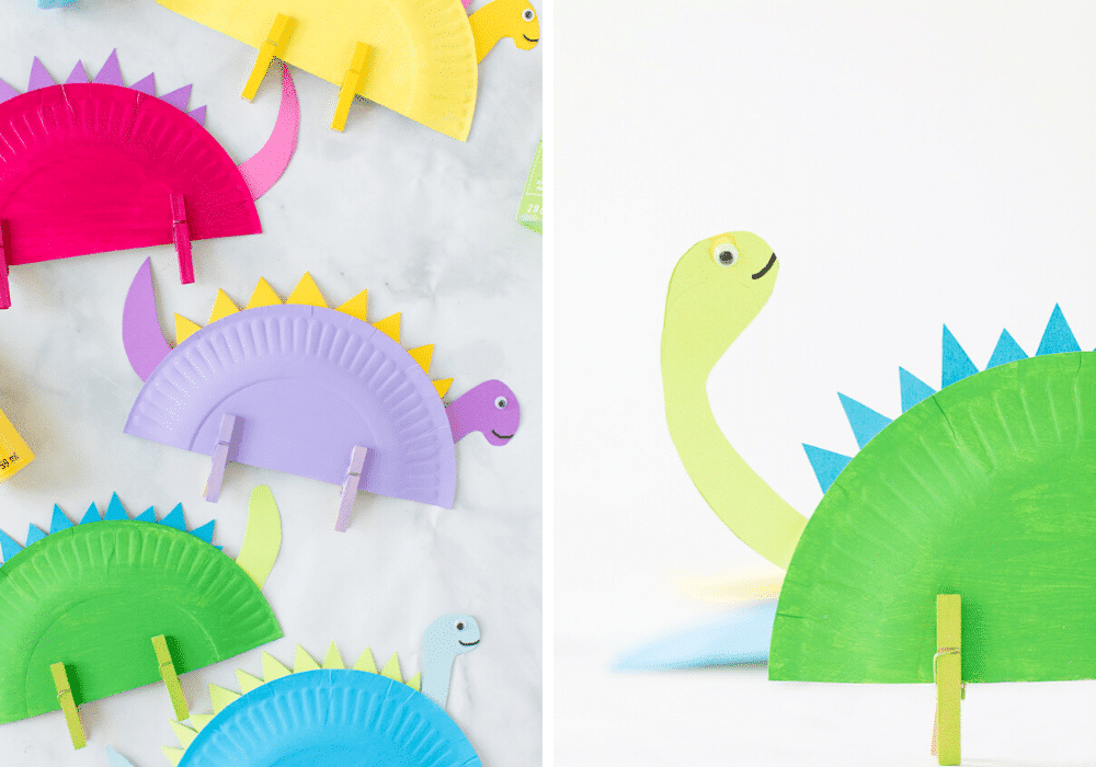 Clothespins on Dinosaur plate