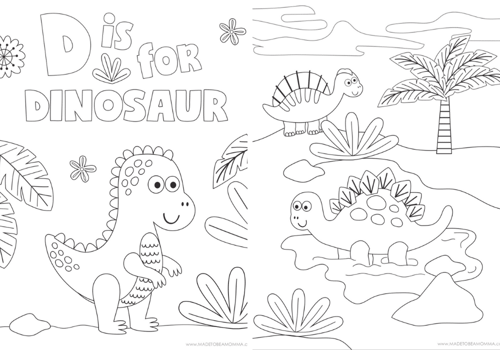 Printable Dinosaur Coloring Pages - Made To Be A Momma
