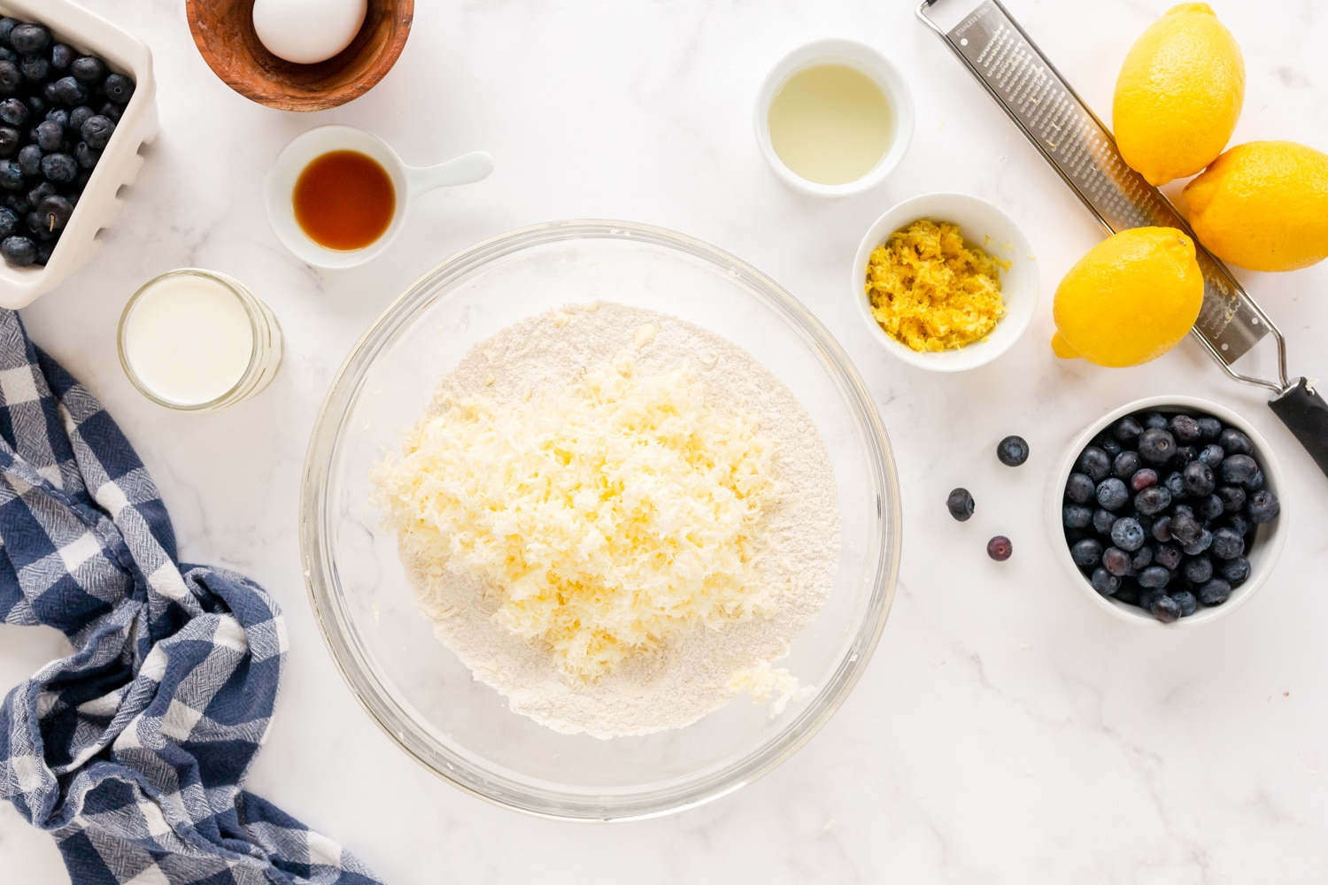 grated butter in bowl