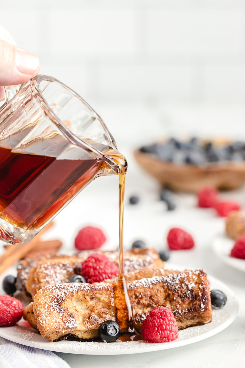 French Toast Sticks Served with Syrup