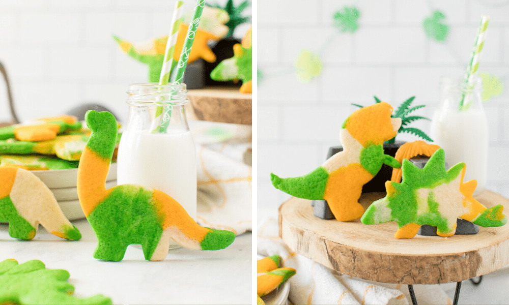 marbled dinosaur cookies displayed with a glass of milk