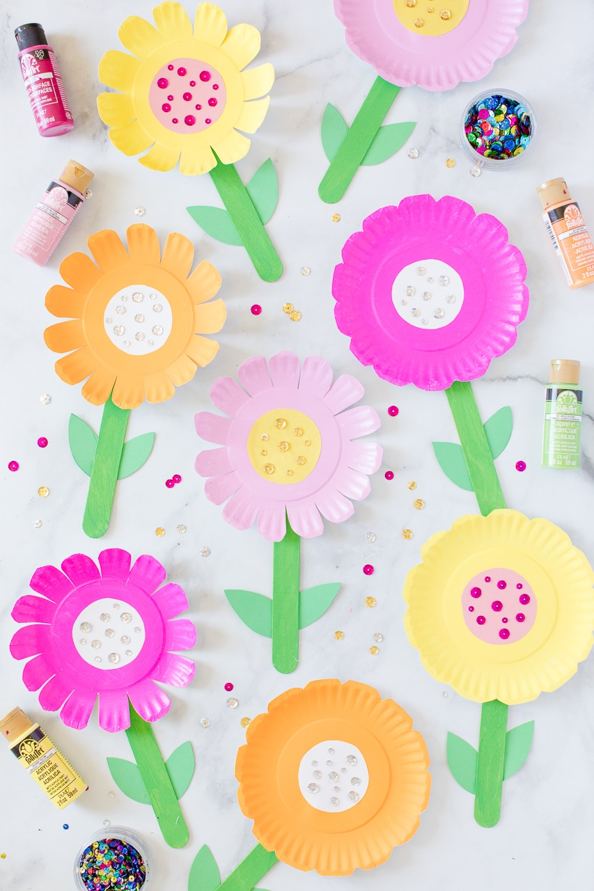Pink, Orange, and Yellow Paper Plate Flowers