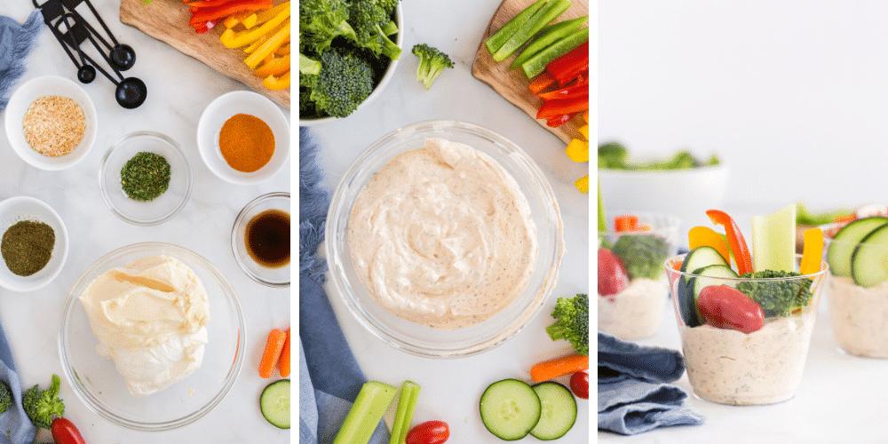 mixing vegetable dip ingredients in bowl