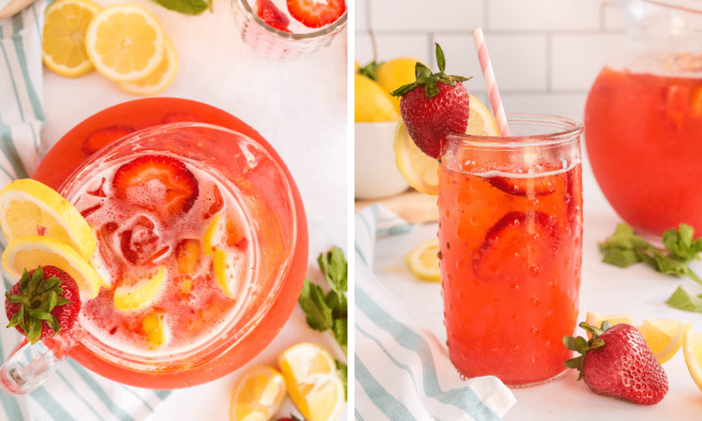 strawberry lemonade in pitcher and glass