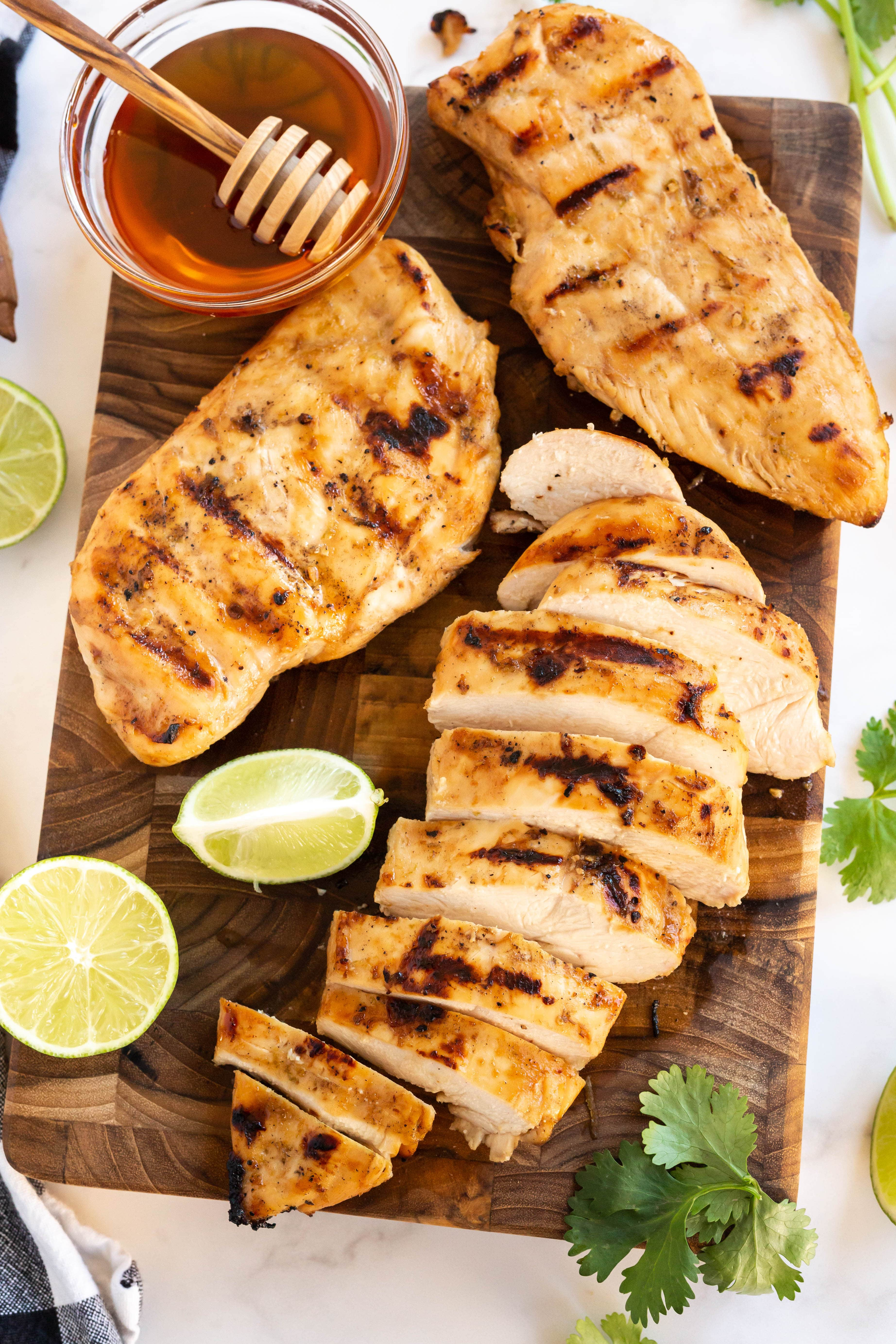 honey lime grilled chicken on cutting board