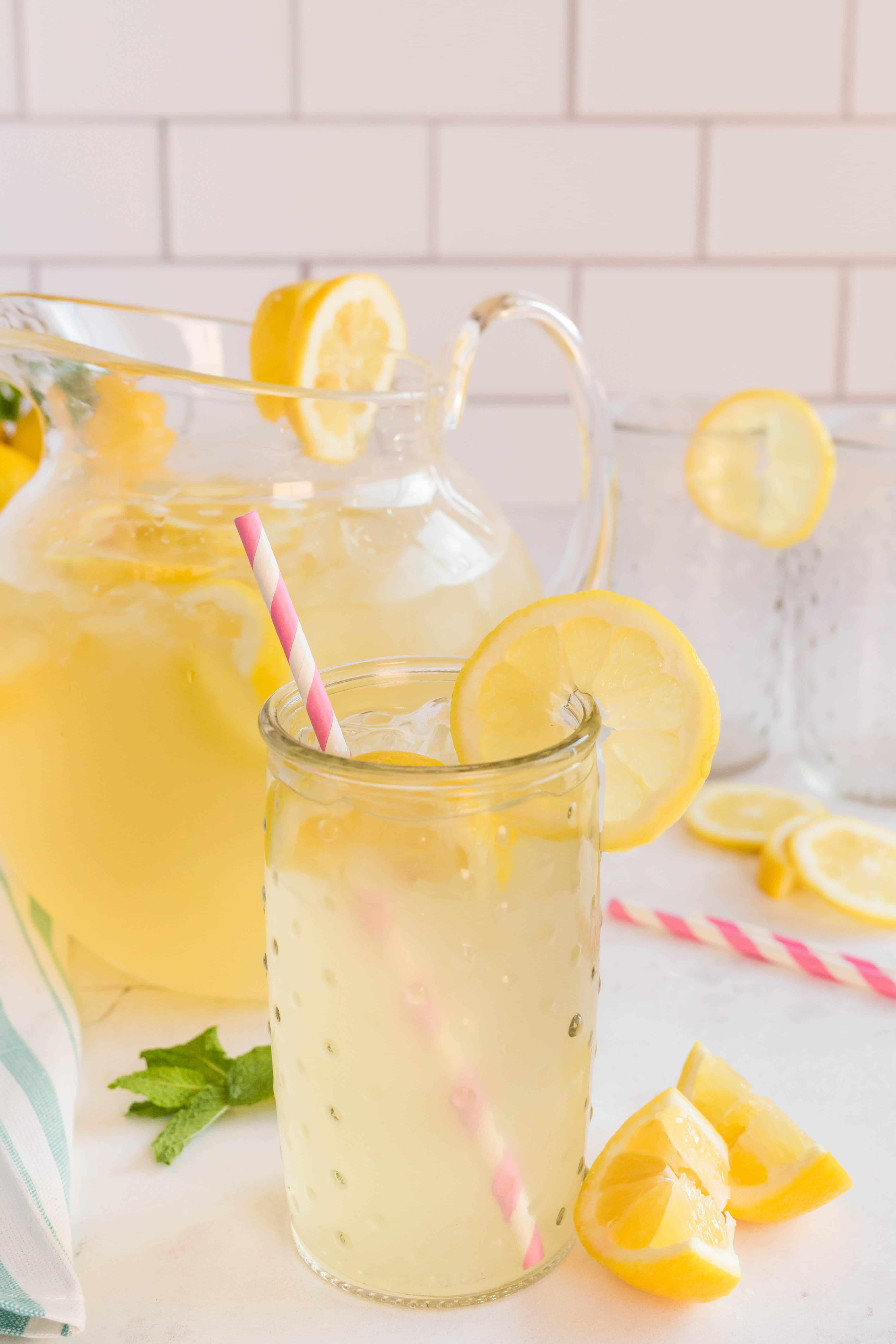 serving of lemonade in glass