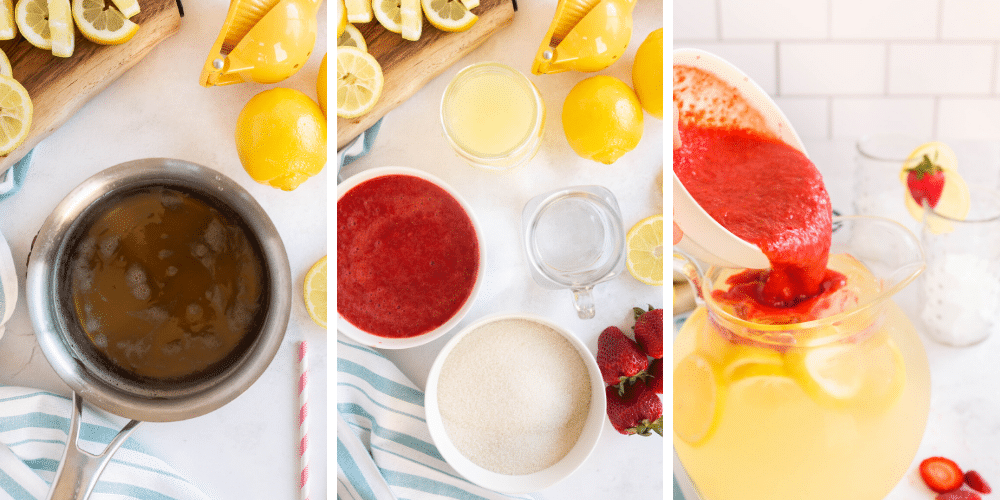 add pureed strawberries to lemonade pitcher
