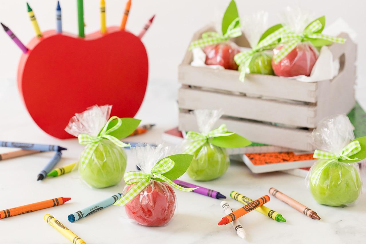 apple playdough with school items