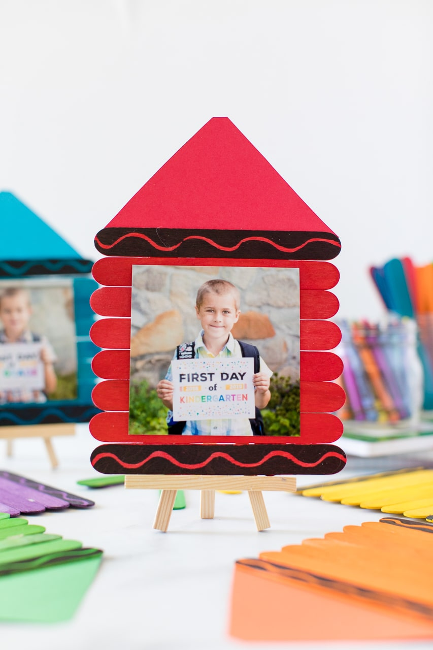 first day of school crayon frame on small eisle