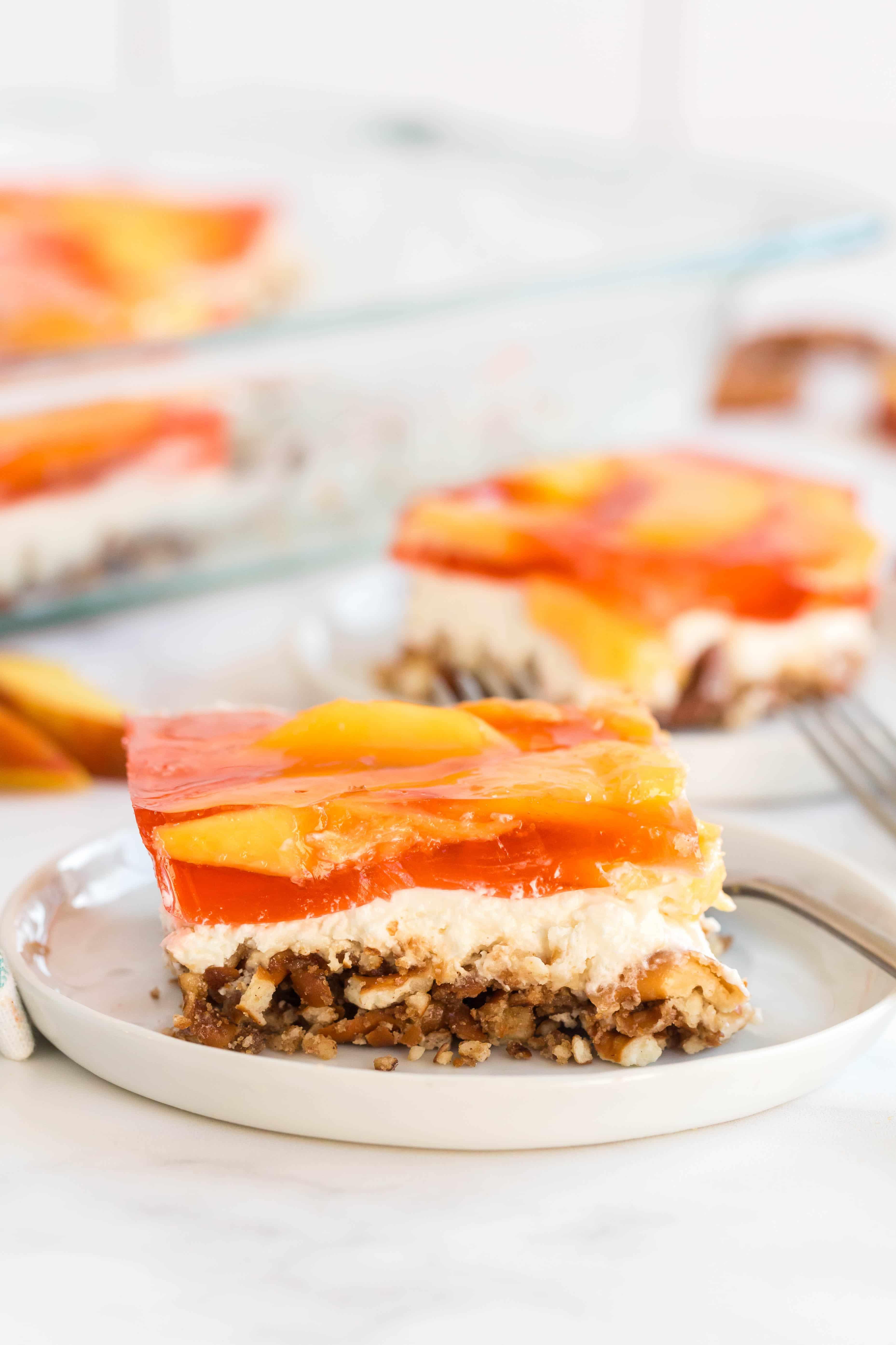 Serving of Peach Pretzel Jello Salad