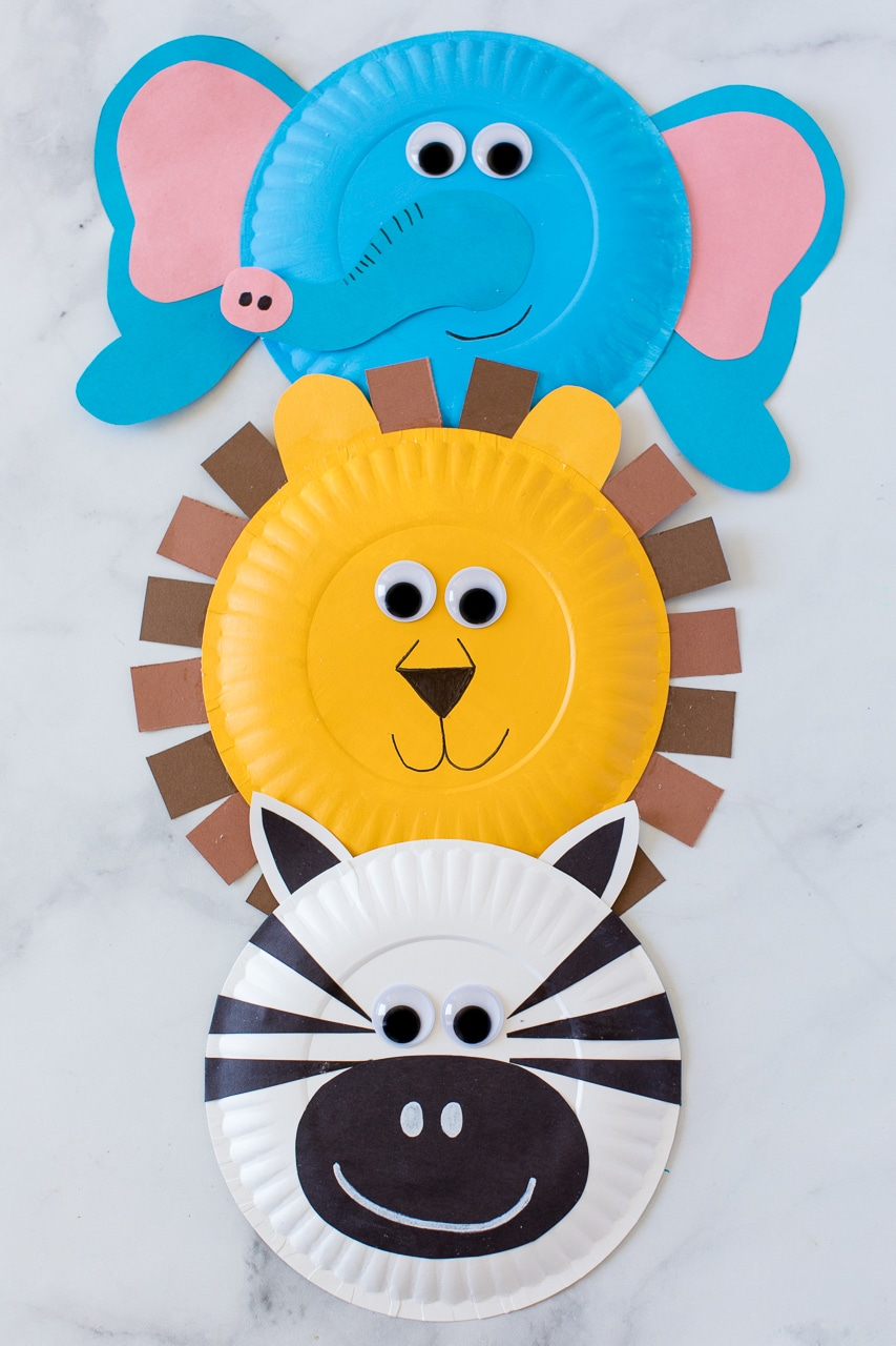 Paper Plate Jungle Animals Stacked on Top of each other