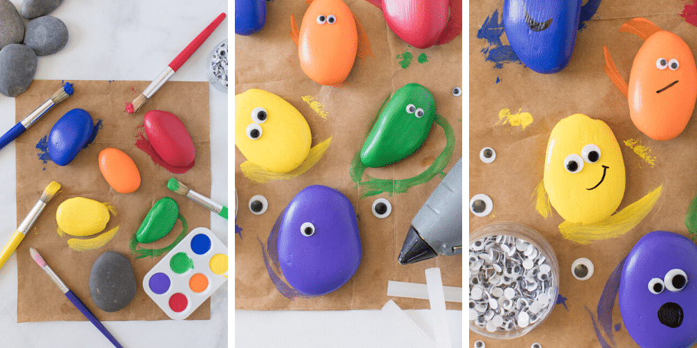 glue googly eyes to painted pet rocks