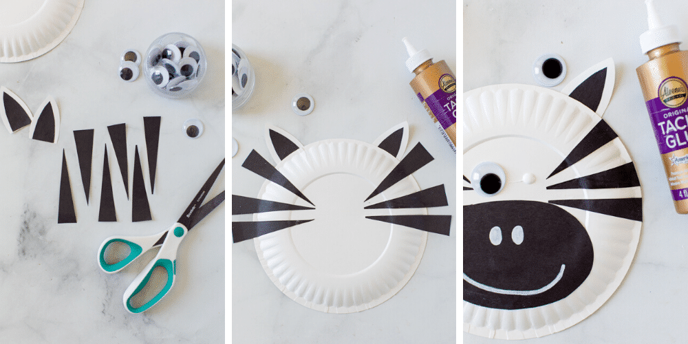 how to make paper plate zebra