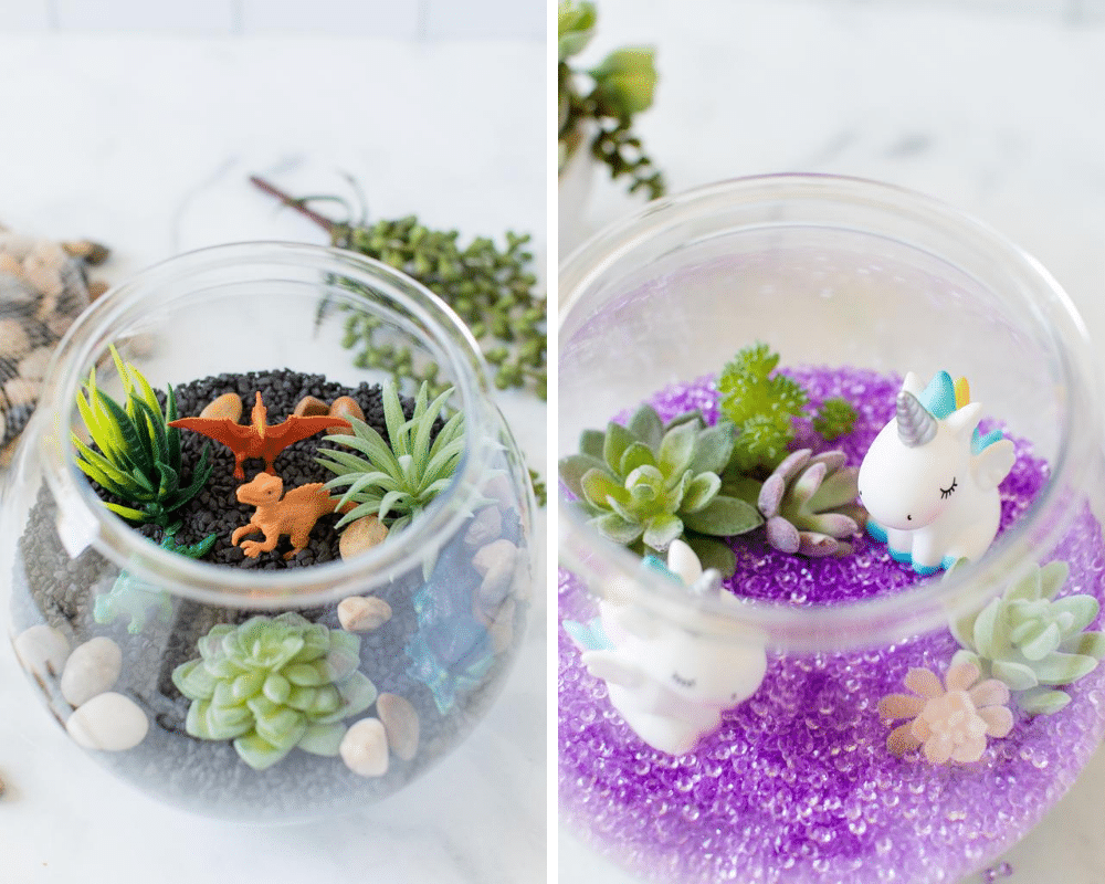 dino terrarium and unicorn terrarium in collage